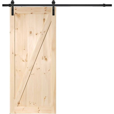 Erias Home Designs 36 In. x 84 In. x 1-3/8 In. Z-Style Stain Grade Unfinished Barn Door