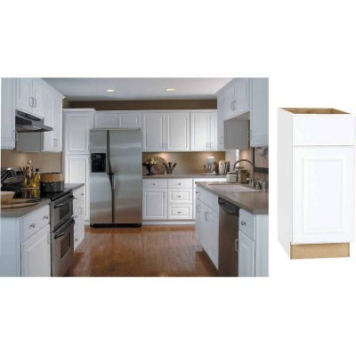 Continental Cabinets Hamilton 15 In. W x 34-1/2 In. H x 24 In. D Satin White Maple Base Kitchen Cabinet