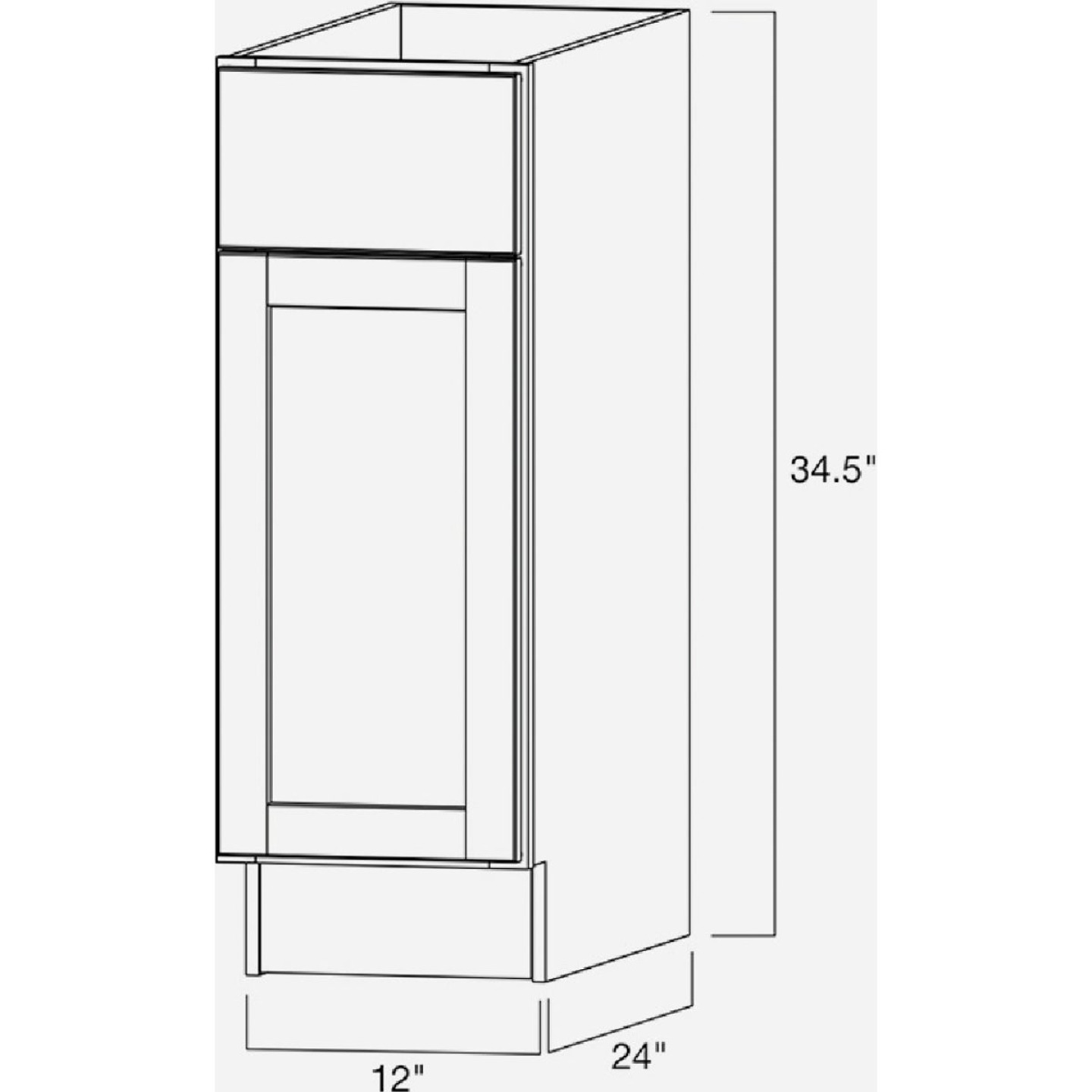Continental Cabinets Andover Shaker 12 In. W x 34 In. H x 24 In. D White Thermofoil Base Kitchen Cabinet Image 4