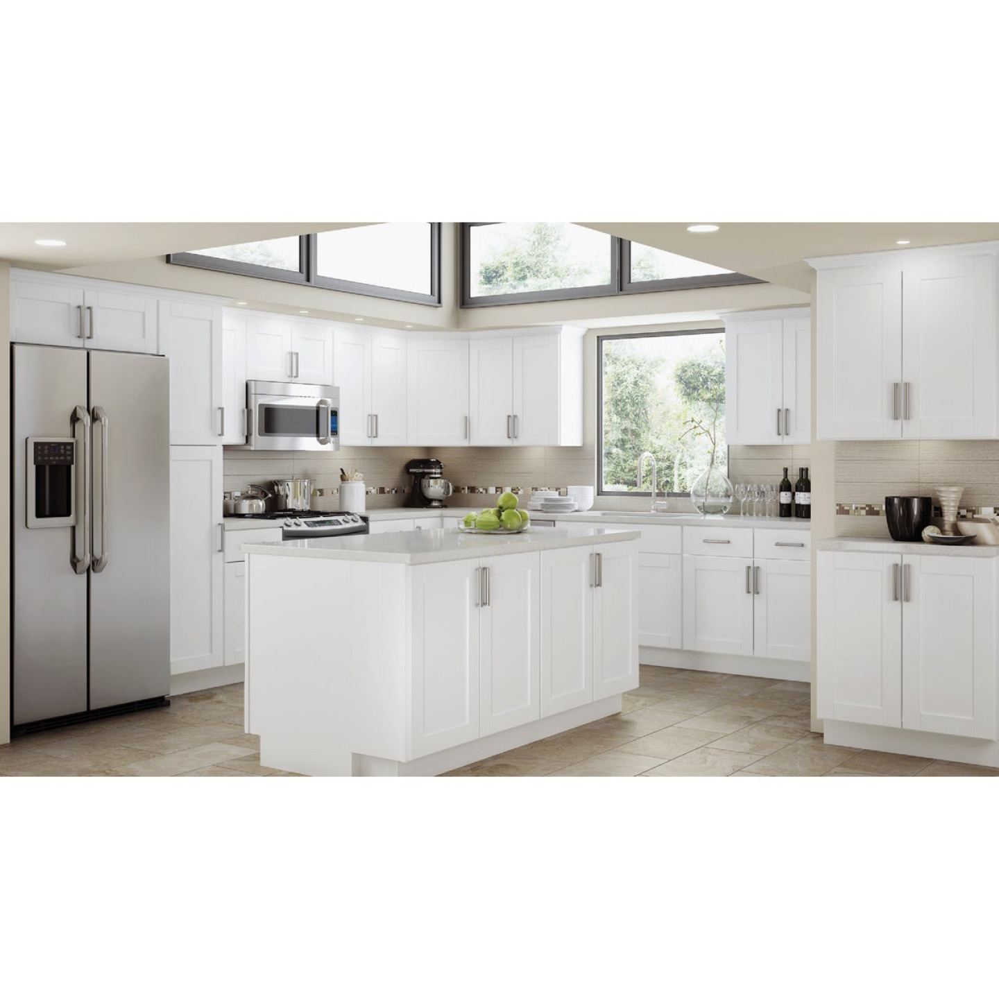 Continental Cabinets Andover Shaker 15 In. W x 30 In. H x 12 In. D White Thermofoil Wall Kitchen Cabinet Image 2