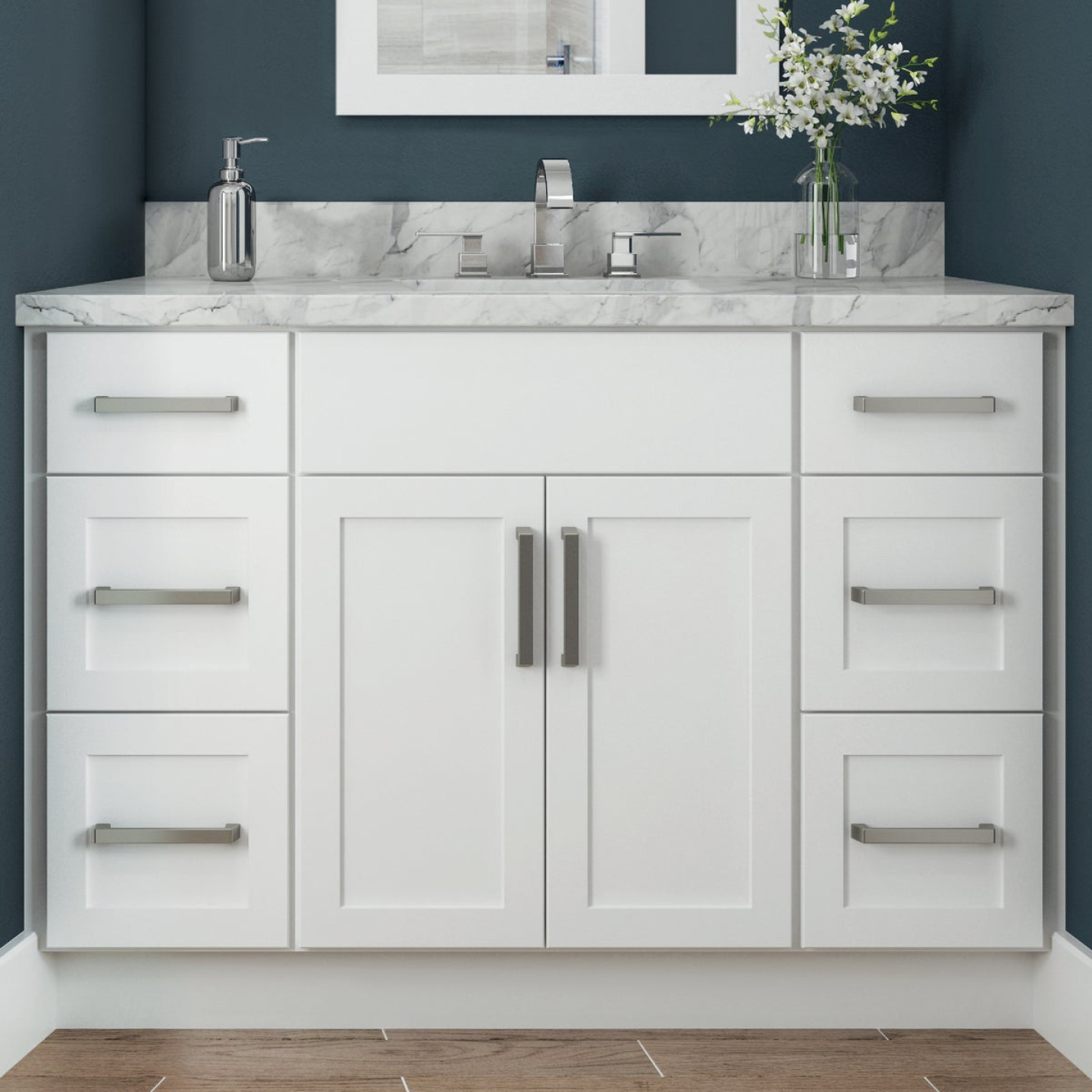 Continental Cabinets Andover Shaker 24 In. W x 34-1/2 In. H x 21 In. D White Vanity Base, 2 Door Image 2