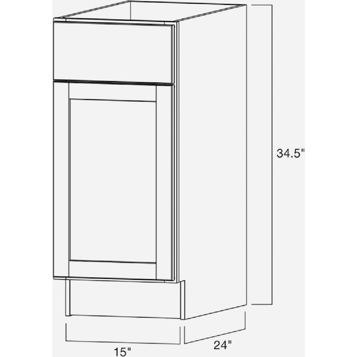 Continental Cabinets Andover Shaker 15 In. W x 34 In. H x 24 In. D White Thermofoil Base Kitchen Cabinet Image 4