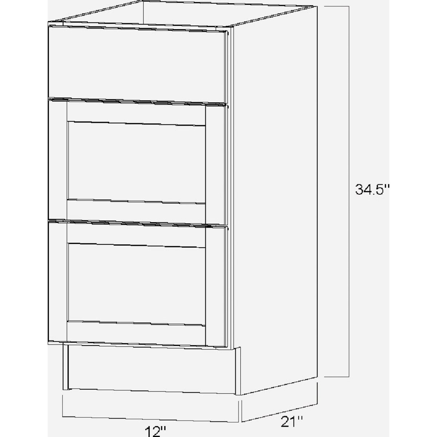 Continental Cabinets Andover Shaker 12 In. W x 34-1/2 In. H x 21 In. D White Drawer Vanity Base Image 5
