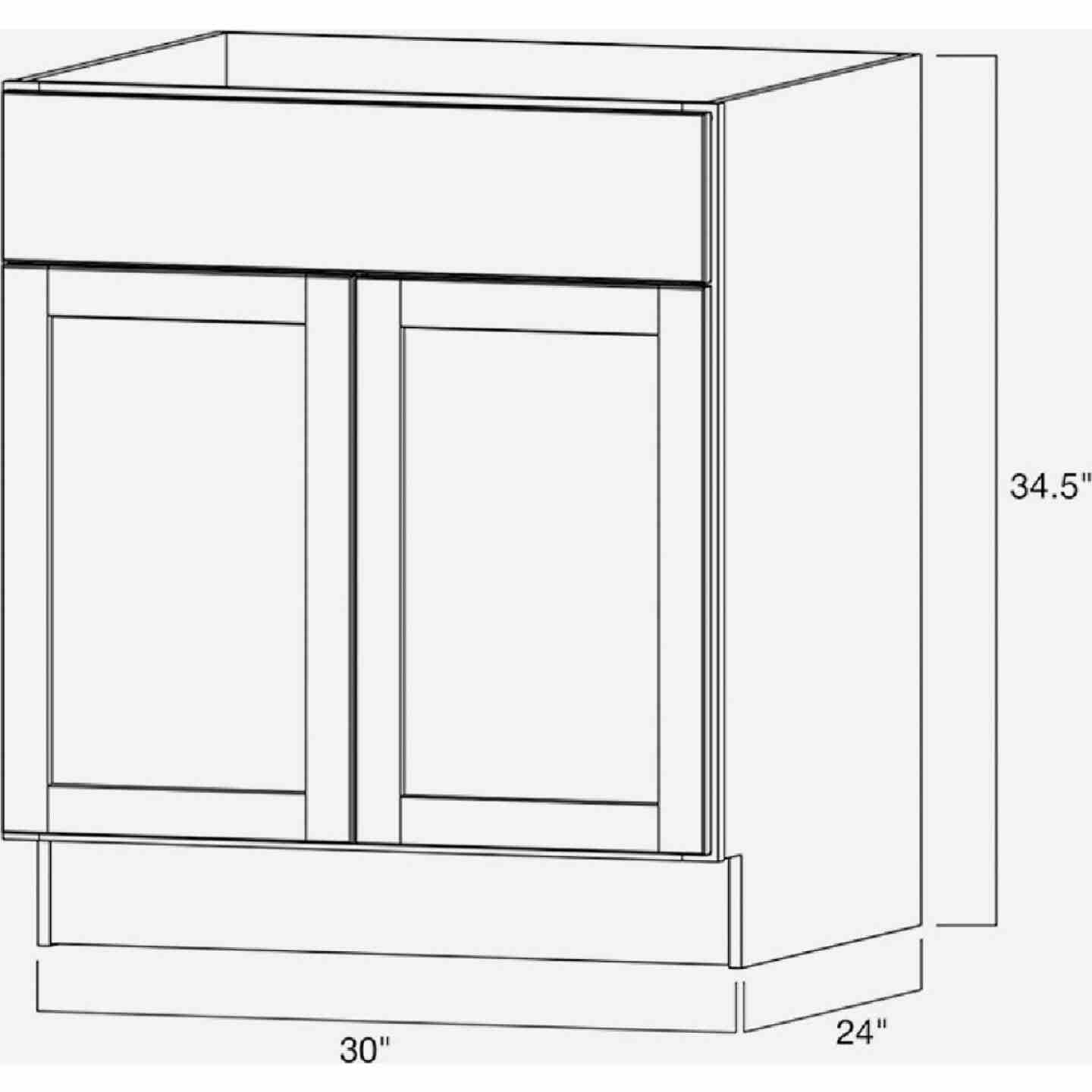 Continental Cabinets Andover Shaker 30 In. W x 34 In. H x 24 In. D White Thermofoil Base Kitchen Cabinet Image 4