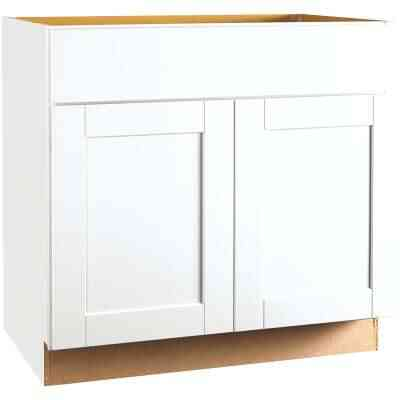 Continental Cabinets Andover Shaker 36 In. W x 34 In. H x 24 In. D White Thermofoil Base Kitchen Cabinet