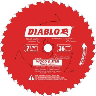 Diablo 7-1/4 In. 36-Tooth Wood & Metal Circular Saw Blade