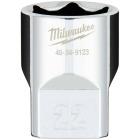 Milwaukee 1/2 In. Drive 22 mm 6-Point Shallow Metric Socket with FOUR FLAT Sides Image 1