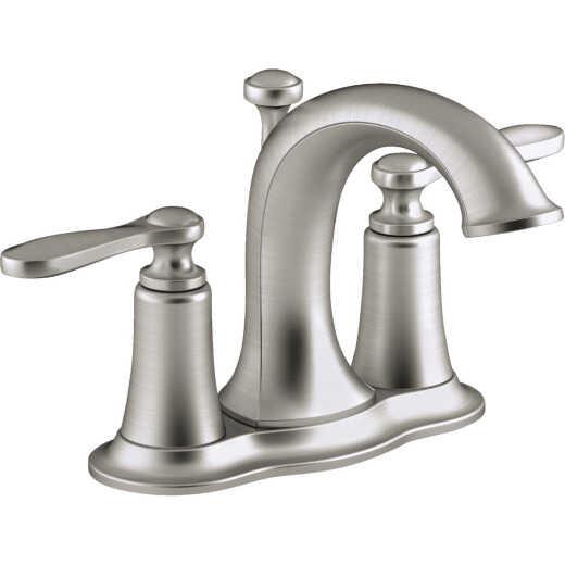 Kohler Linwood Brushed Nickel 2-Handle Lever 4 In. Centerset Bathroom Faucet with Pop-Up