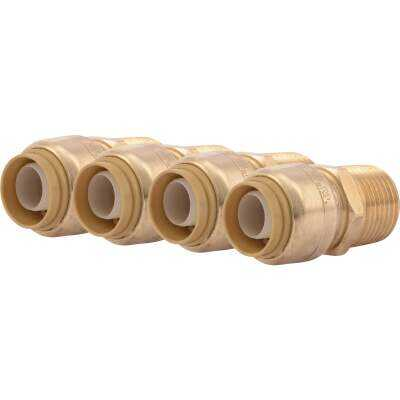 SharkBite 1/2 In. x 1/2 In. MNPT Straight Brass Push-to-Connect Male Adapter (4-Pack)