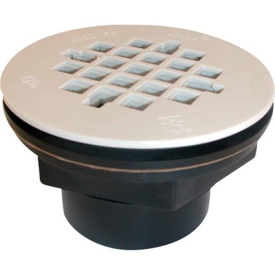 Oatey 2 In. ABS Solvent Weld Shower Drain with 4-1/4 In. Plastic Strainer