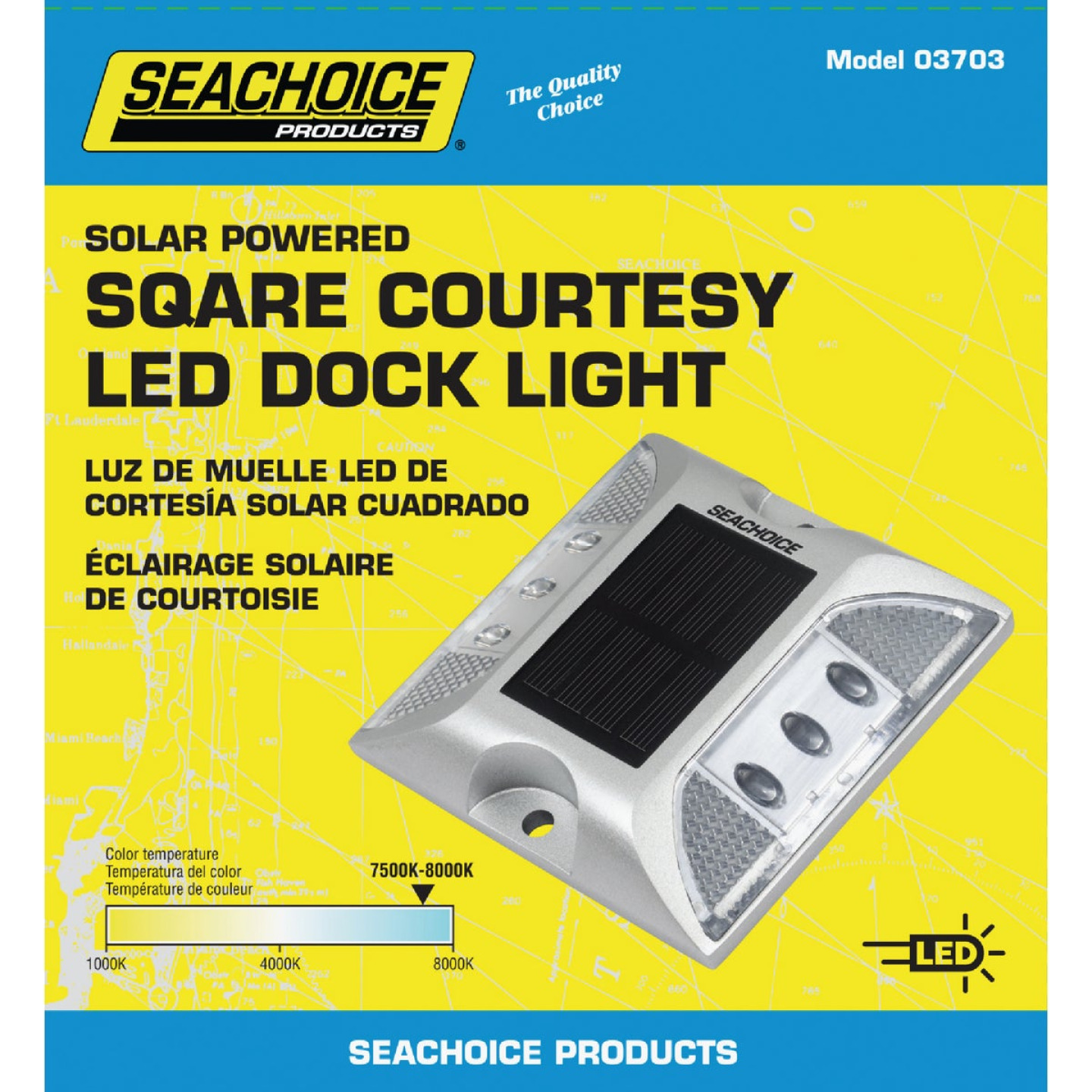 Seachoice 4-3/4 In. x 1 In. Silver LED Square Courtesy Solar Deck Light Image 1