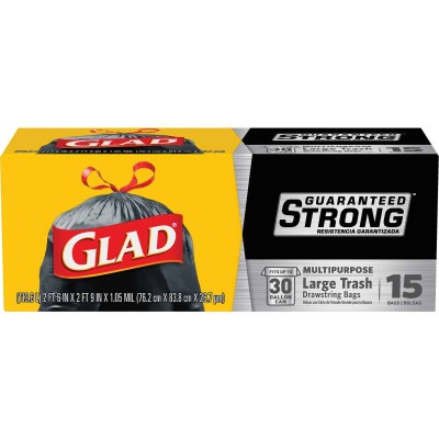 Glad Guaranteed Strong 30 Gal. Large Black Trash Bag (15-Count)