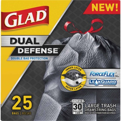 Glad Dual Defense 30 Gal. Large Black Trash Bag (25-Count)