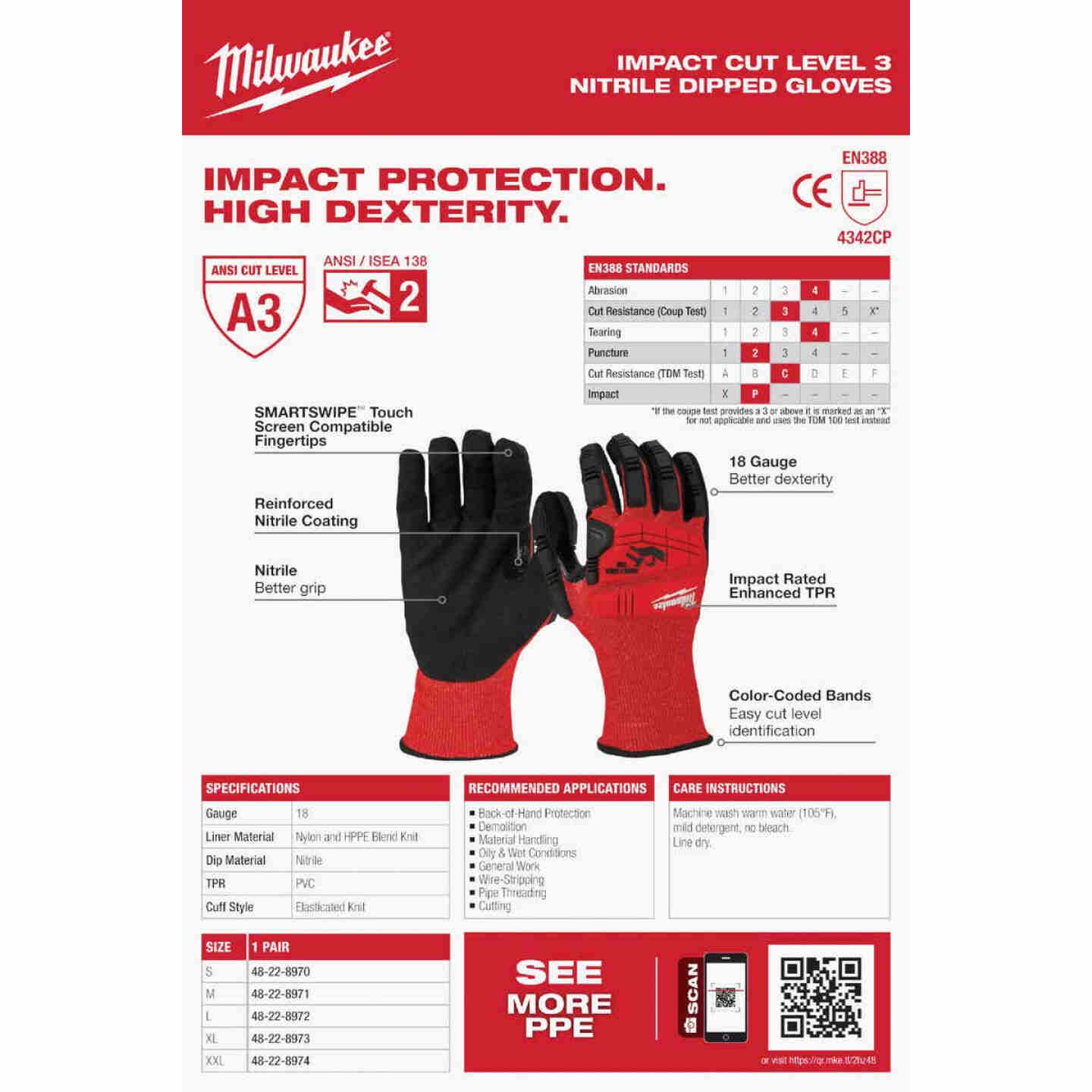 Milwaukee Impact Cut Level 3 XL Men's Nitrile Dipped Work Gloves Image 5