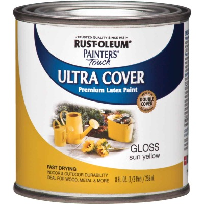 Rust-Oleum Painter's Touch 2X Ultra Cover Premium Latex Paint, Sun Yellow, 1/2 Pt.
