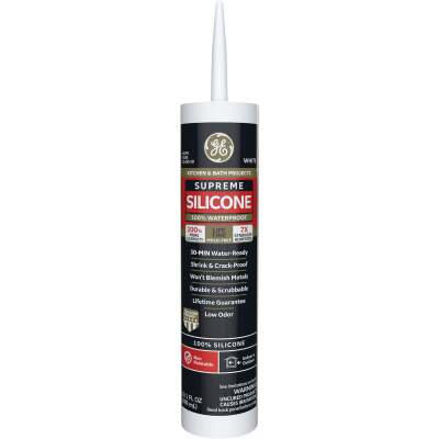 GE Supreme Silicone Kitchen & Bath Sealant, White, 10.1oz