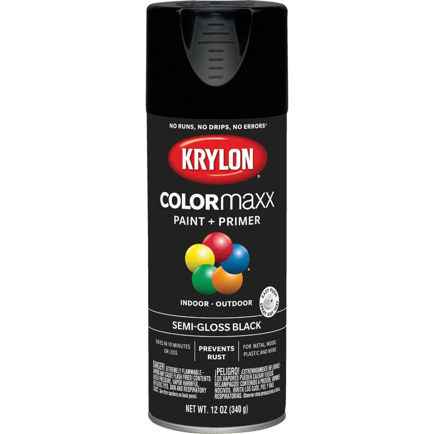 Krylon ColorMaxx 12 Oz. Semi-Gloss Spray Paint, Black Image 1
