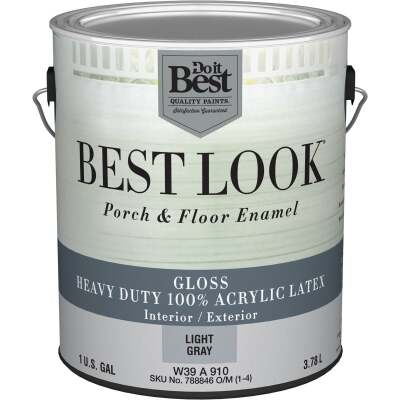 Best Look 1 Gal. Light Gray Base Heavy-Duty Acrylic Latex Gloss Porch & Floor Enamel