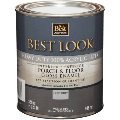 Best Look 1 Qt. Light Gray Base Heavy-Duty Acrylic Latex Gloss Porch & Floor Enamel
