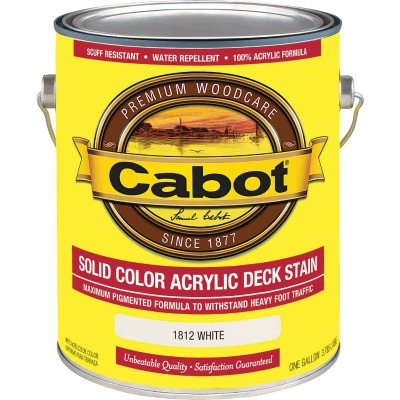 Cabot Solid Color Acrylic Deck Stain, White, 1 Gal.