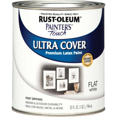 Rust-Oleum Painter's Touch 2X Ultra Cover Premium Latex Paint, Flat White, 1 Qt.
