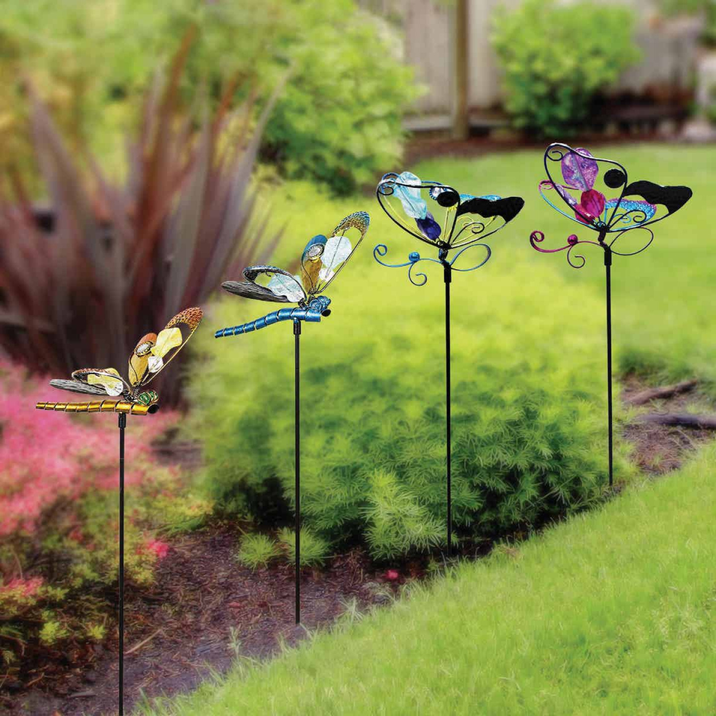 Alpine 36 In. Metal & Glass Assorted Insect Garden Stake Lawn Ornament Image 2