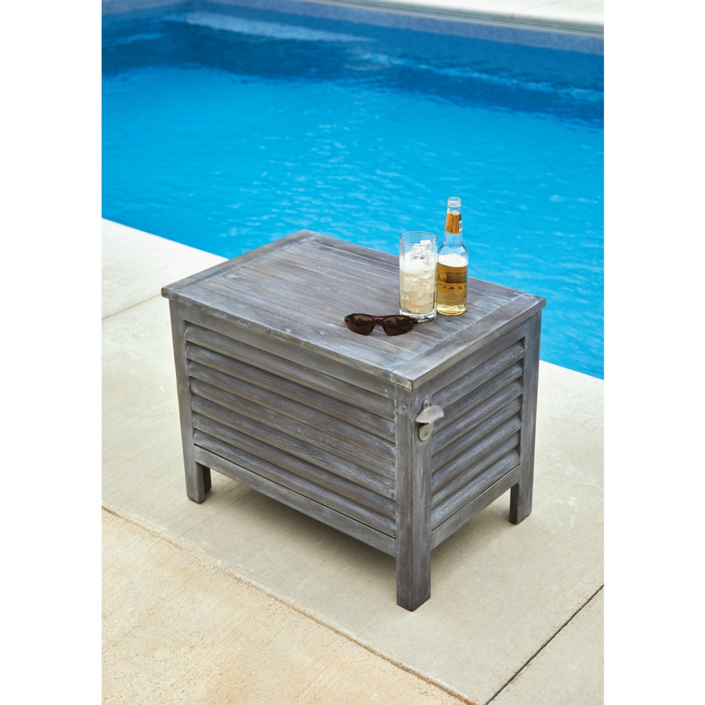 Leigh Country 56 Qt. Acacia Wood Cooler, Gray Image 5