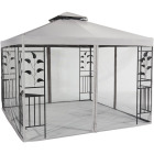 Outdoor Expressions 10 Ft. x 10 Ft. Gray & Black Steel Gazebo with Sides Image 1