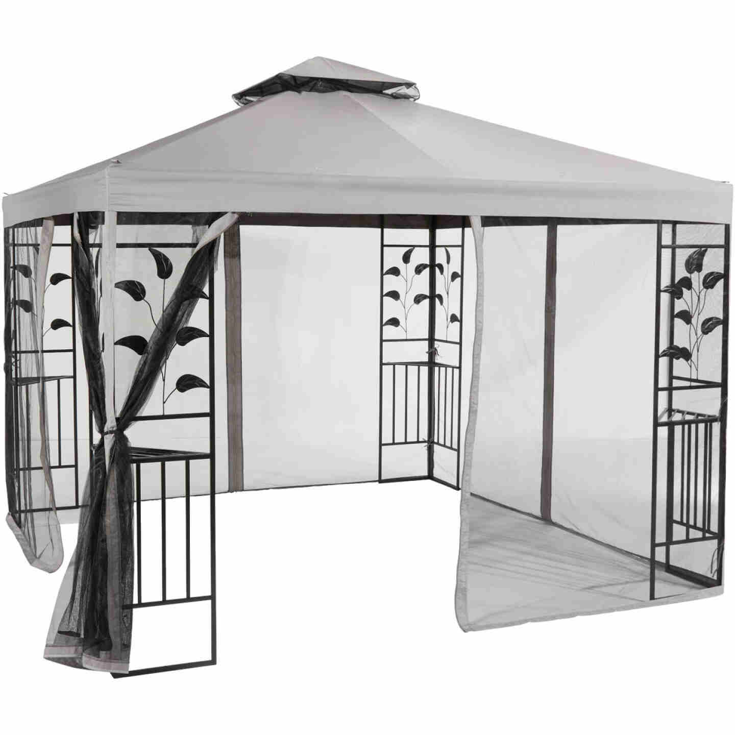 Outdoor Expressions 12 Ft. x 12 Ft. Gray & Black Steel Gazebo with Sides Image 9