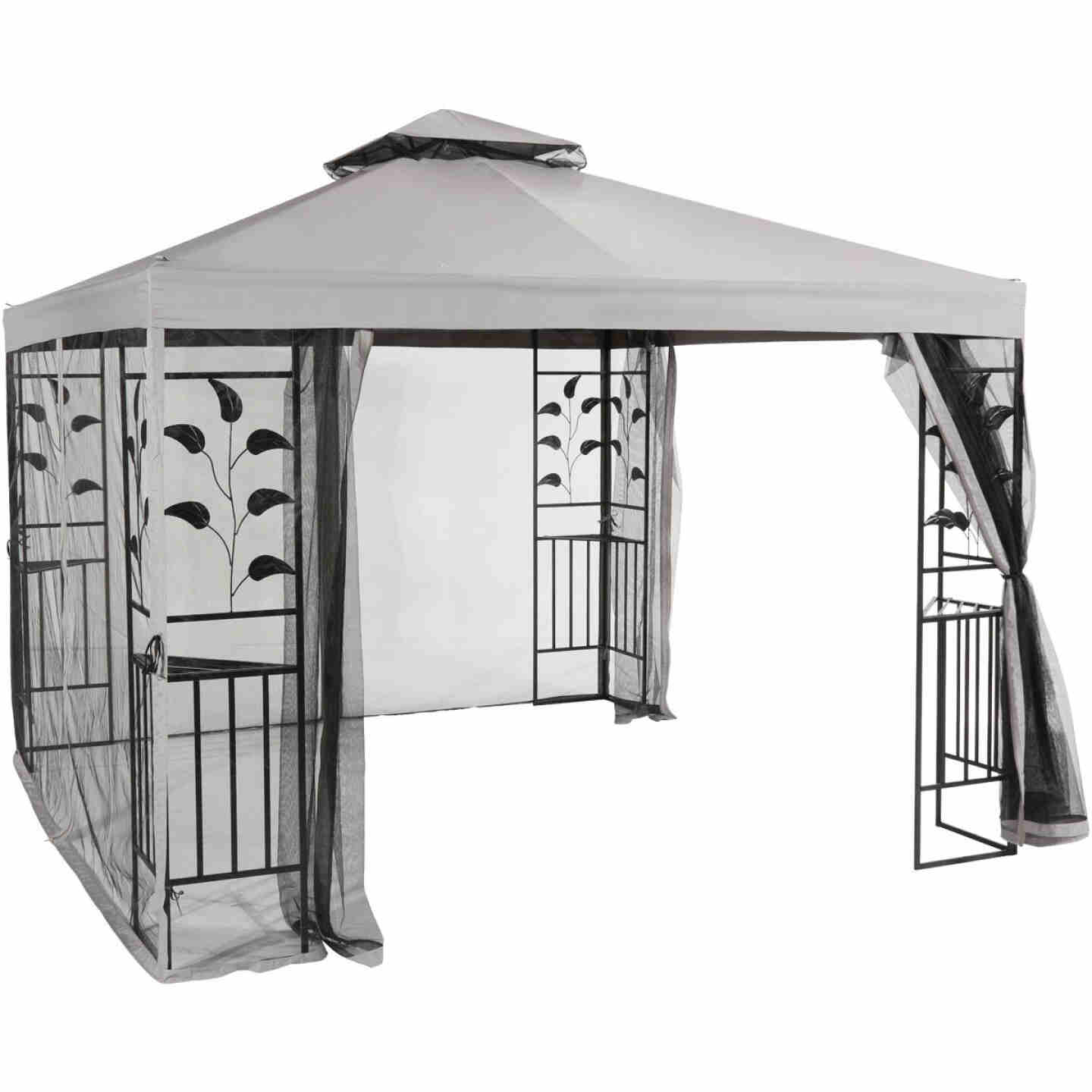 Outdoor Expressions 12 Ft. x 12 Ft. Gray & Black Steel Gazebo with Sides Image 10