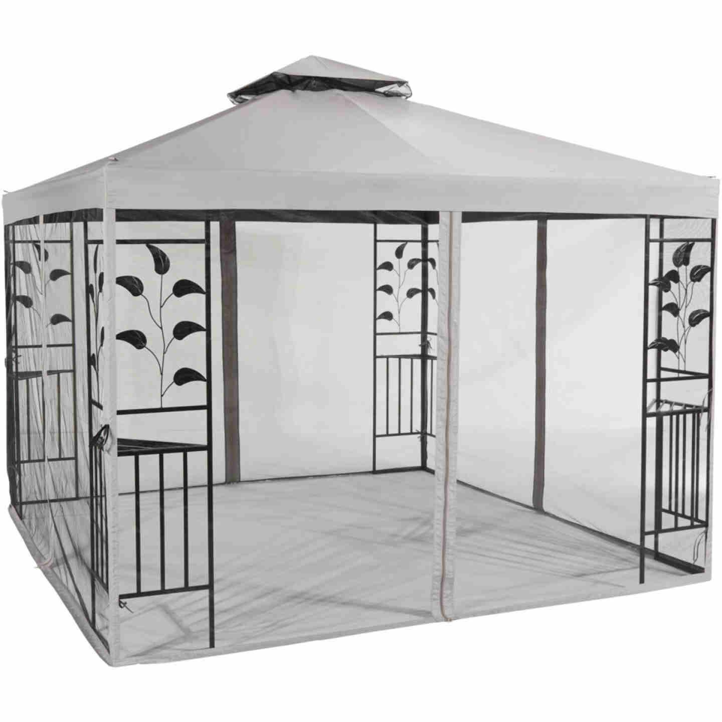 Outdoor Expressions 12 Ft. x 12 Ft. Gray & Black Steel Gazebo with Sides Image 1