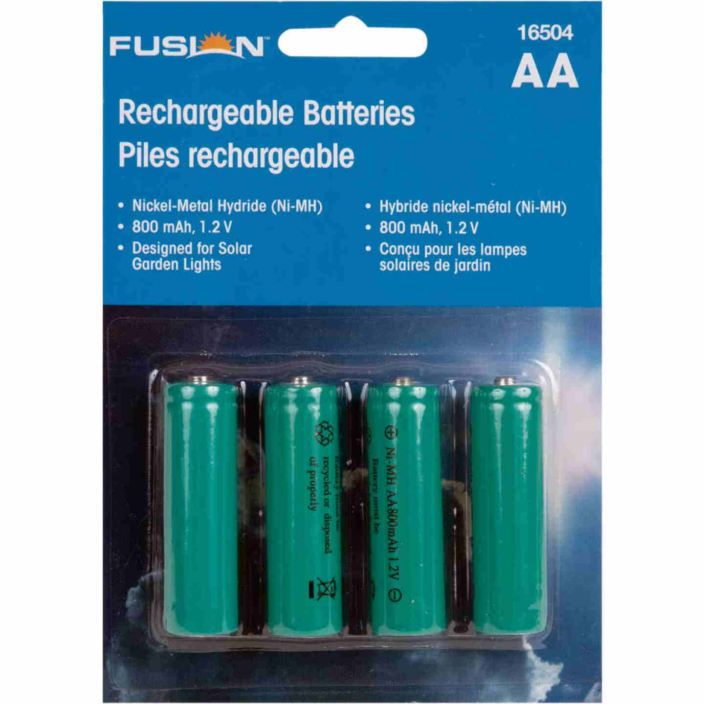 Fusion AA 600 mAh Ni-MH Solar Replacement Battery (4-Pack) Image 1